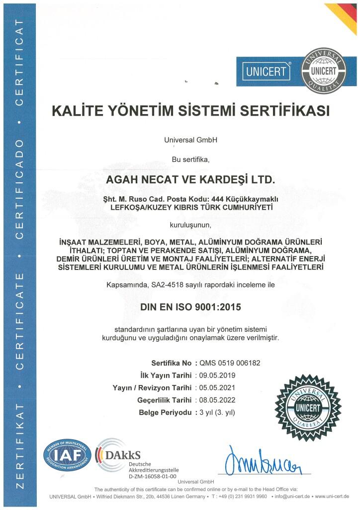 KALİTE SERTİFİKASI